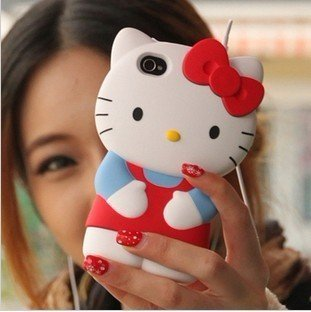 3D hello kitty back case for iphone 4s 4g Cute hard case for iphone4g 6 colors available with retail package