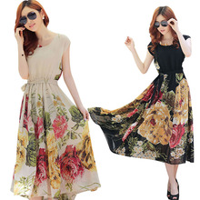 Summer floral print maxi dresses women casual loose chiffon o-neck long dress plus size vestido(China (Mainland))