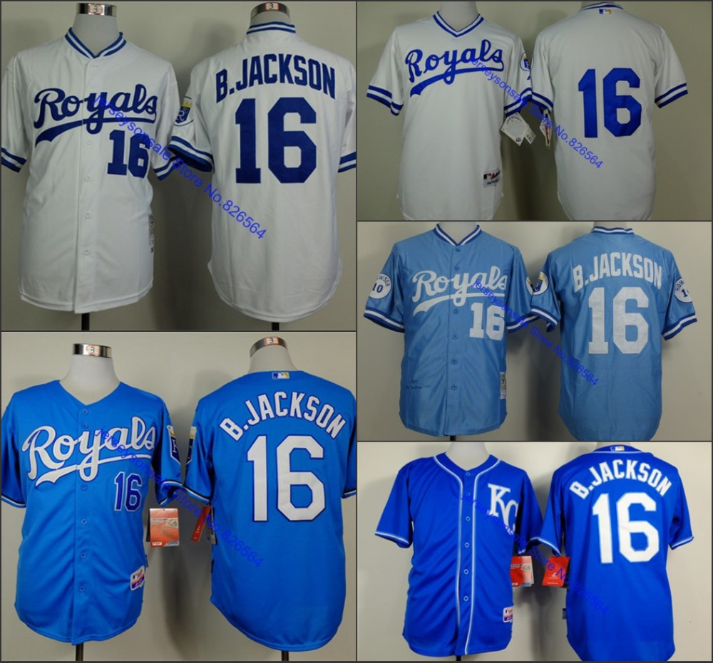 Cheap 2015 Kansas City Royals Jersey 16 Bo Jackson Jersey throwback retro baseball jersey/ shirt with tags and logos stitched(China (Mainland))