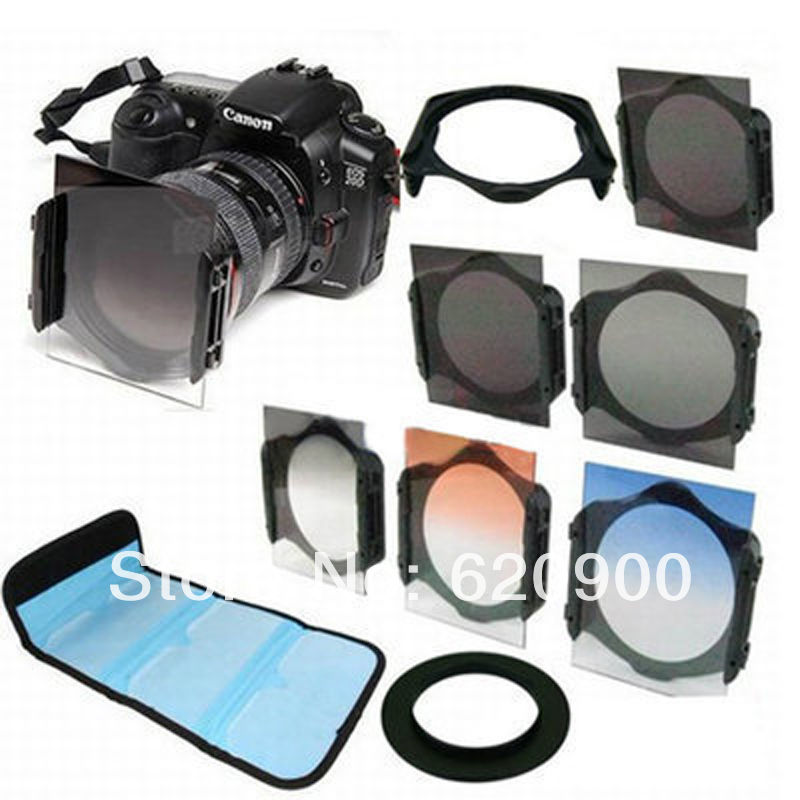 100% Guarantee 6 pcs For cokin P ND2/ND4/ND8 + Graduated Grey Orange Blue Filter +52mm Ring Adapter+Filter Holder 52mm camera(China (Mainland))