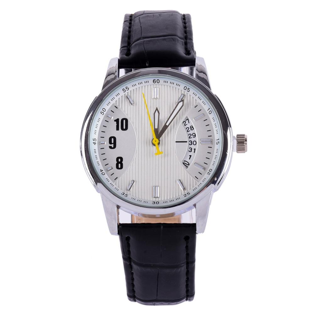 Casual Womens Mens Genuine Leather Band Round Dial Quartz Bracelet Wrist Watch<br><br>Aliexpress