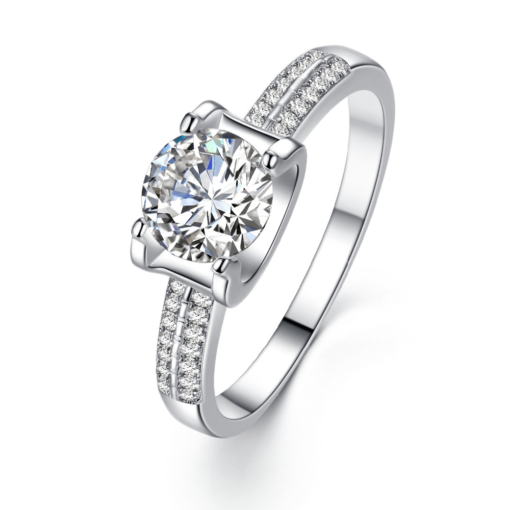 Classic 925 sterling silver AAA CZ Ring Wedding Bands Vintage Gifts Rings for Women Engagement Fine Style Jewelry Accessories(China (Mainland))