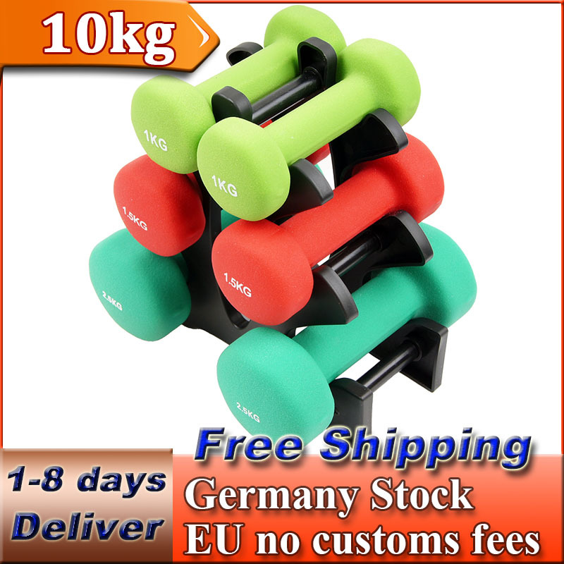 Ladies Women Men Neoprene Dumbbells Set Body Hand Weights Rubber Coated Case Box 10kg Sport Fitness Equipment(China (Mainland))