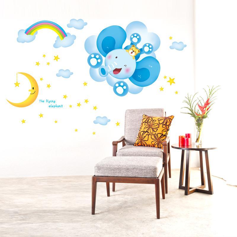 Elephant Stars Moon Cartoon DIY Vinyl Wall Stickers For