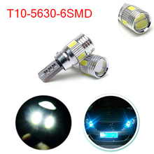 2 pcs X T10 CANBUS W5W Cree Interior Xenon parking White LED automobiles CANBUS 6SMD COB 5630 with Projector Aluminum Case bulbs(China (Mainland))