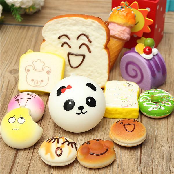 Hot Sale 12PCS Random Sent Kawaii Squishies Lots Cupcakes Panda Bun Toasts Multi Donuts(China (Mainland))