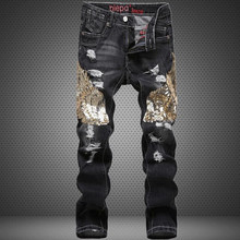 New Arrival 2015 Autumn Winter Jeans Men Slim Denim Pants Wing Jeans Straight Trousers Ripped Jeans Plus Size 30 32 34 36 38(China (Mainland))