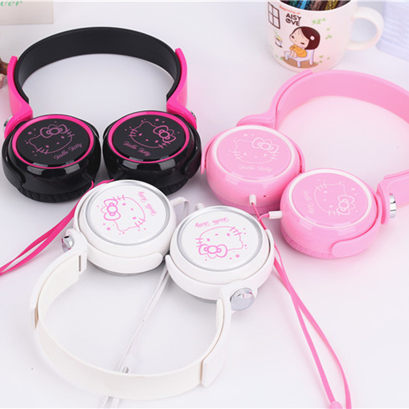 Cute 3.5mm Cartoon earphone headset hello kitty headphones headband for Mobile Phone iphone samsung xiaomi MP3 Comupter headset(China (Mainland))