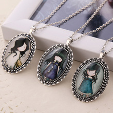 1pc charm cartoon womens vintage silver tone oval resin jane is a english girl pendant necklace children kids gift jewelry colar