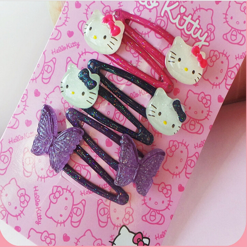 New Design Shiny Hello Kitty Hair Clip Girls Hair Accessories Grid Yarn Butterfly Children Accessories Ribbon Baby Hairpins(China (Mainland))