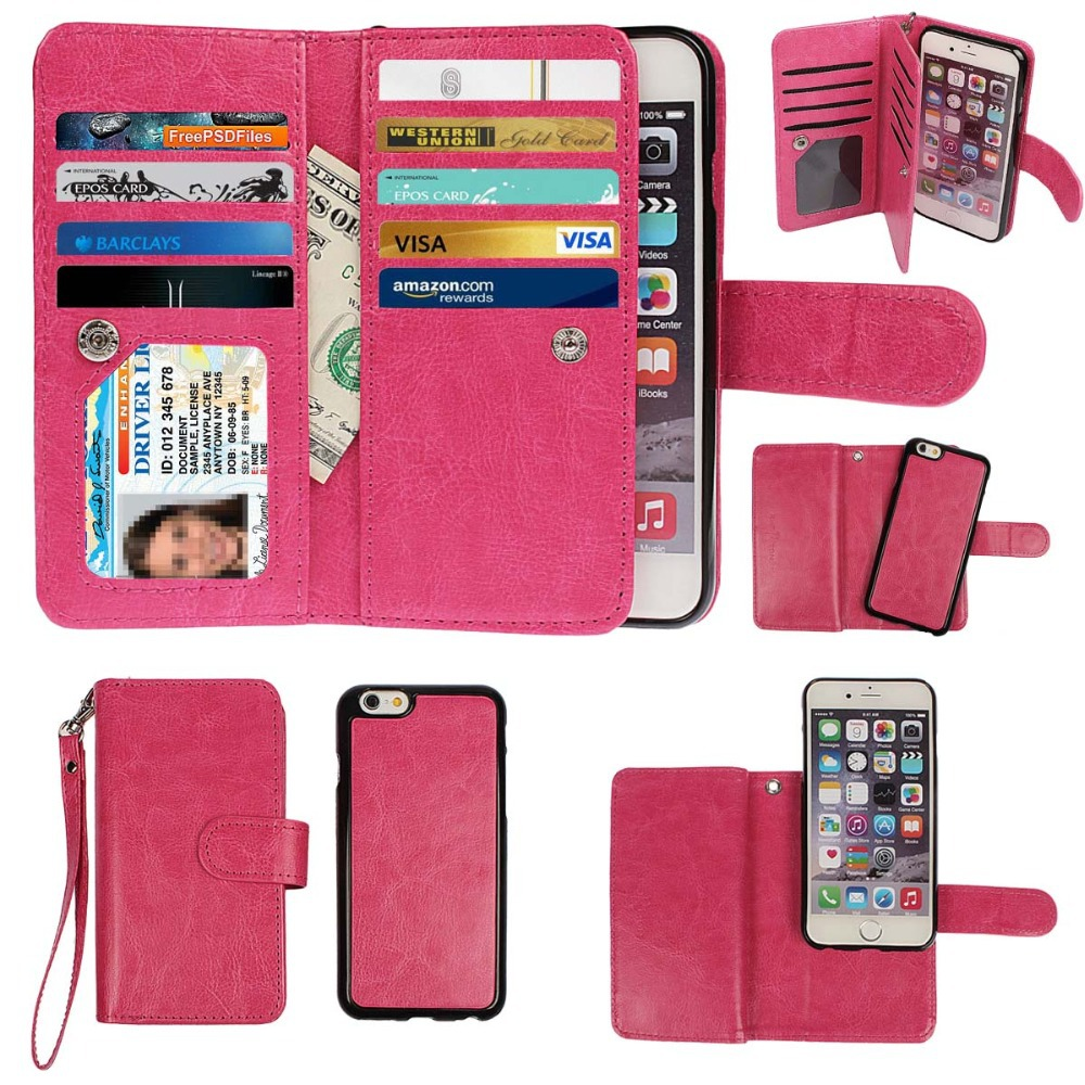 6/6 plus Fashion Luxury Magnetic Detachable Wallet Leather Case Cover For iPhone 5/5s 5c 6/6s 6plus For Samsung Galaxy Note4(China (Mainland))