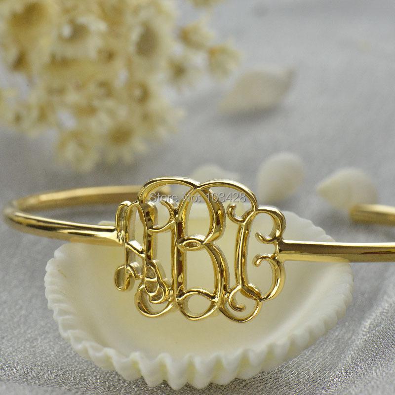3D Monogram Bracelet Gold Personalized 3D Initial Bracelet Name Pendant Bracelet Special 3D Jewelry <br>