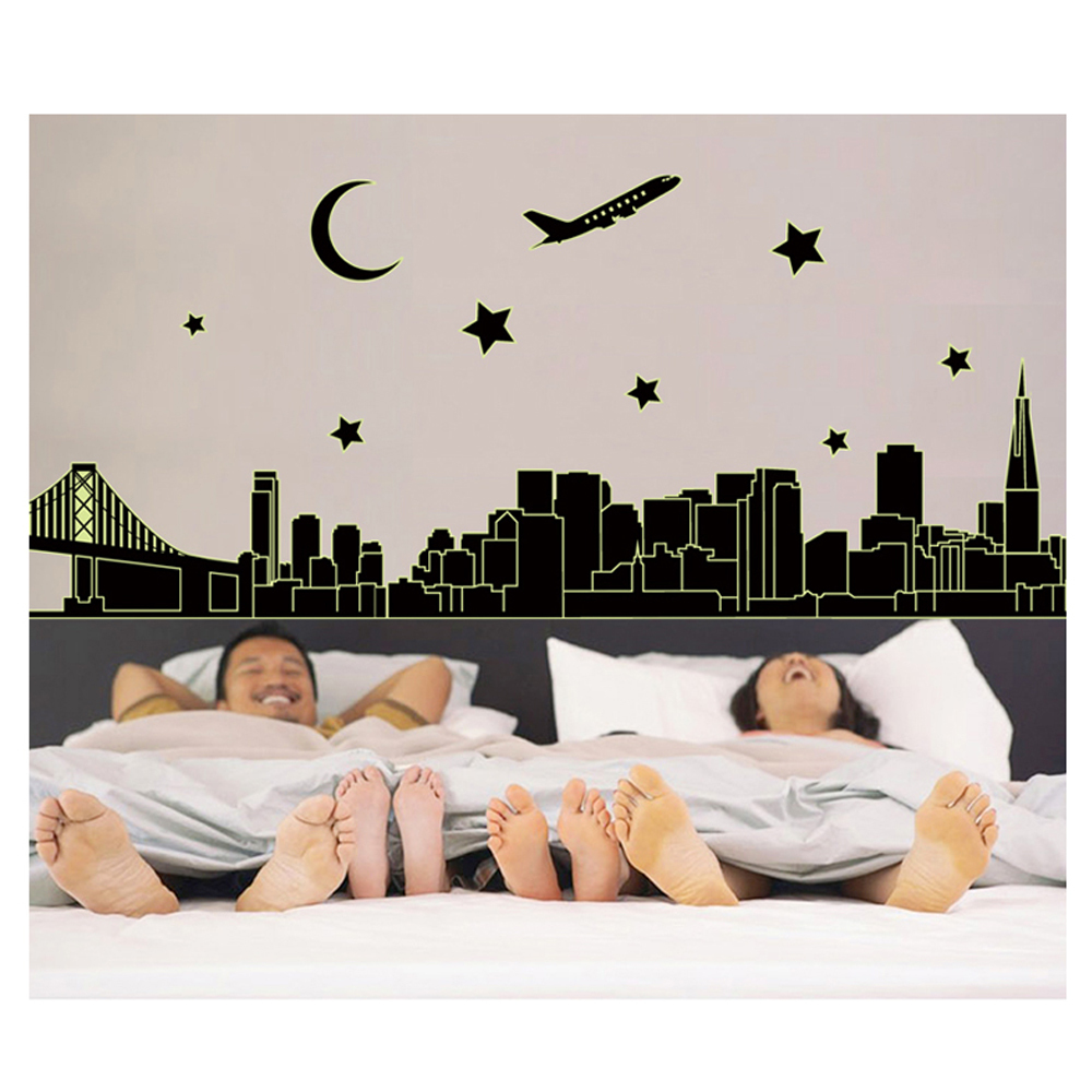 Glow In The Dark Bedroom Wall Decor Sticker Decals Plane Night City Vinyl Stickers Home Decor Decoration Wall Art Accessories(China (Mainland))