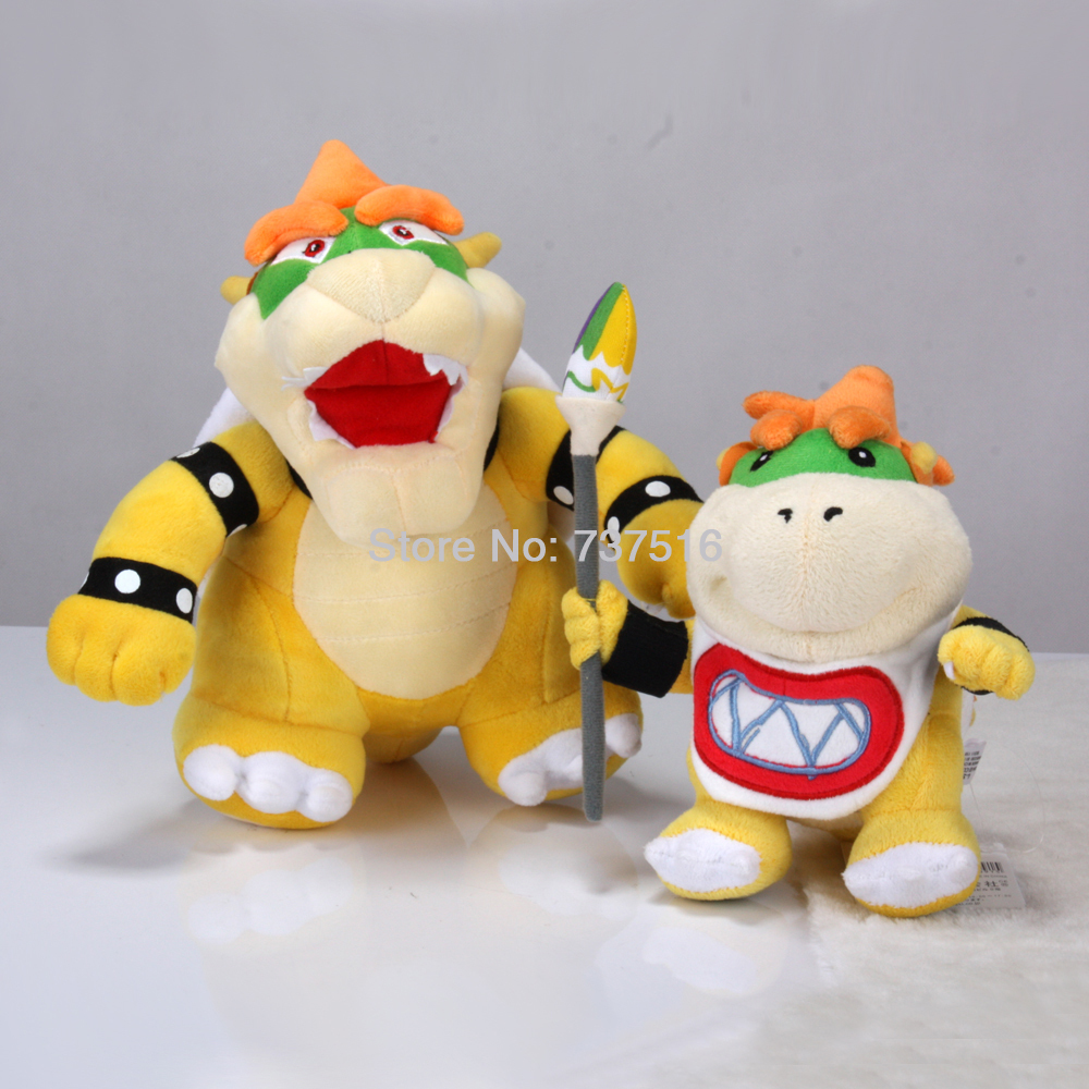 2x Lovely Stuffed Animals Super Mario Standing King Koopa & Handheld Color Brush Bowser Jr. Plush Doll Soft Toys(China (Mainland))