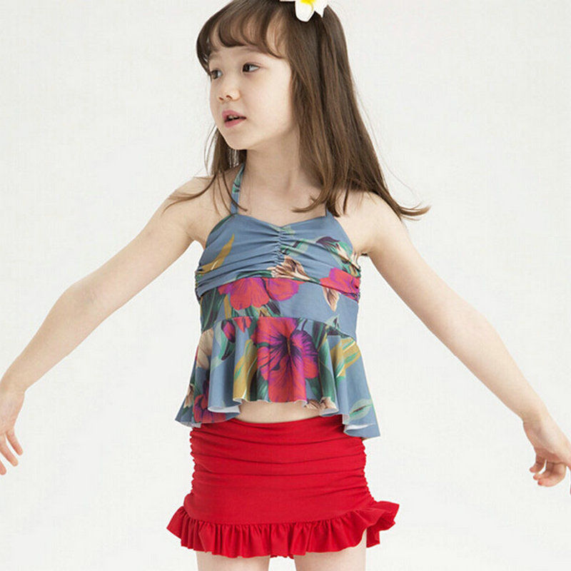 2-7Year Pretty Girls Beautiful Floral Swimwear Swimsuits Lovely Skirt Bathing Suits biquini infantil - U-SEE MALL store