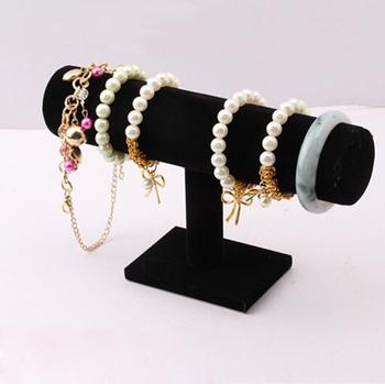 1Pcs bracelet chain watch holder T bar rack jewelry display organizer stand holder Packgaing black velvet New Hot Selling New