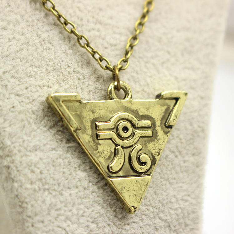 Yu-Gi-Oh Anime Yugi Muto One Thousand Building Blocks Chain Necklace Duel Monster Vintage Triangle Pendant Necklace Wholesale