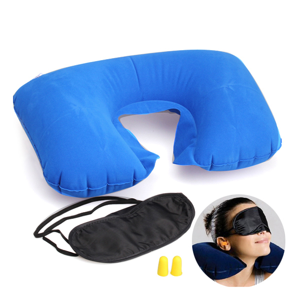 Travel Necessary Fashion Multifunction Inflatable Pillow Patch Earplug New US#V(China (Mainland))