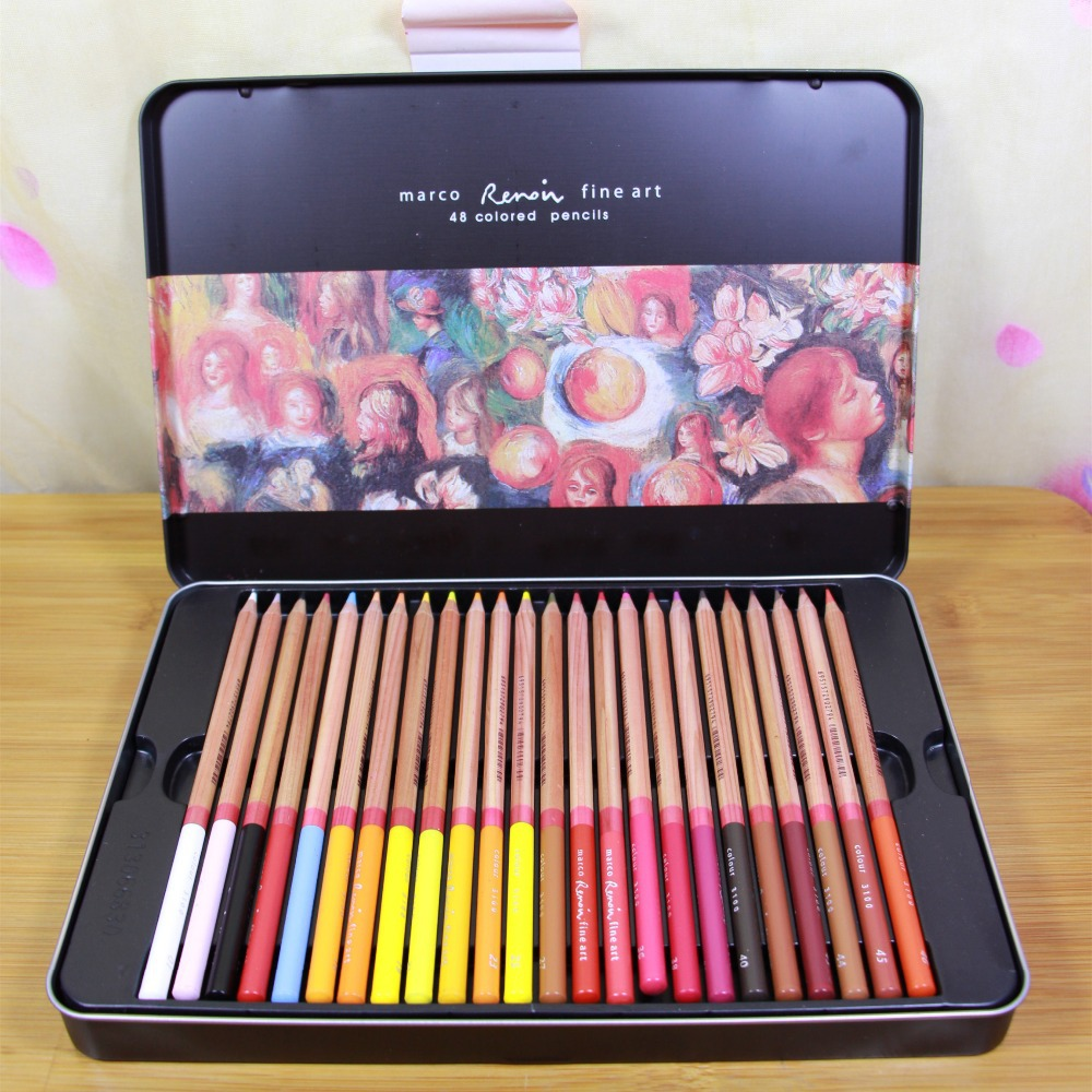marco 48 color pencils professional colored pencils colouring pencil set school stationery products offer pencil sharpener(China (Mainland))