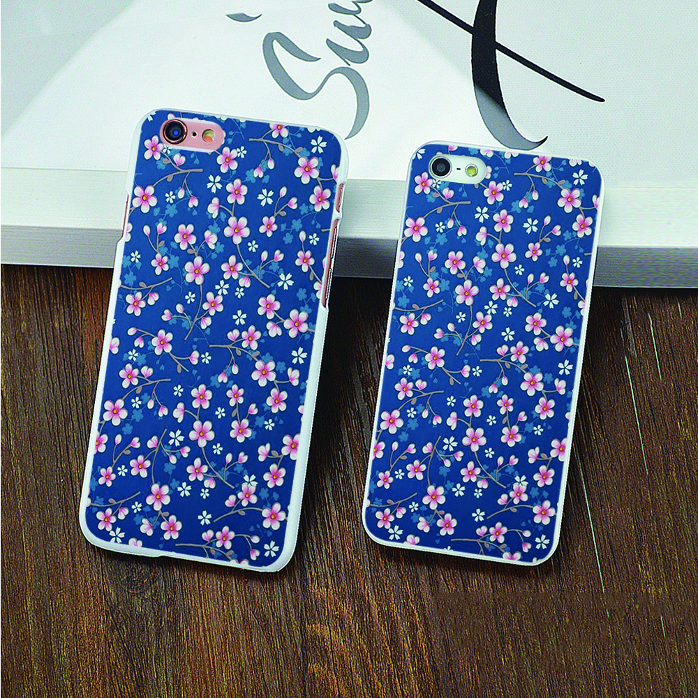 Pip Studio Behang Cherry Blossoms Blue hard white skin Case for iPhone 4 4s 5 5s 5c 6 6s 6 Plus 6s Plus cover shell(China (Mainland))