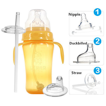High quality 300ml 3kinds of functions baby water bottle with nipple&duckbilled&straw training bottle/Kids straw mug sippy cup