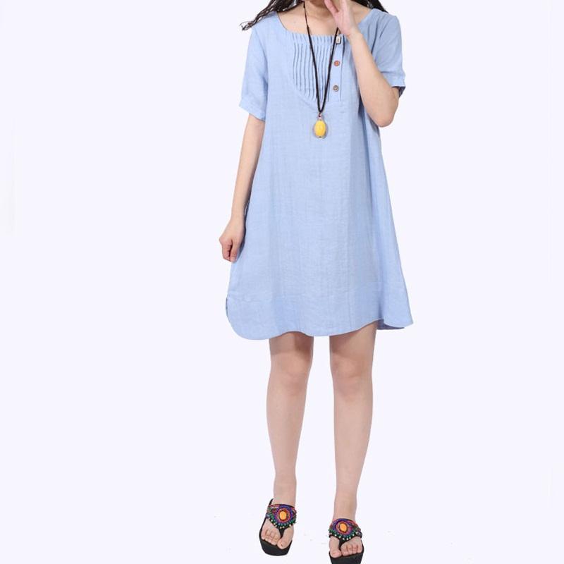 2016 New summer dress loose plus size Vestidos Femininos Cotton Linen women dress(China (Mainland))