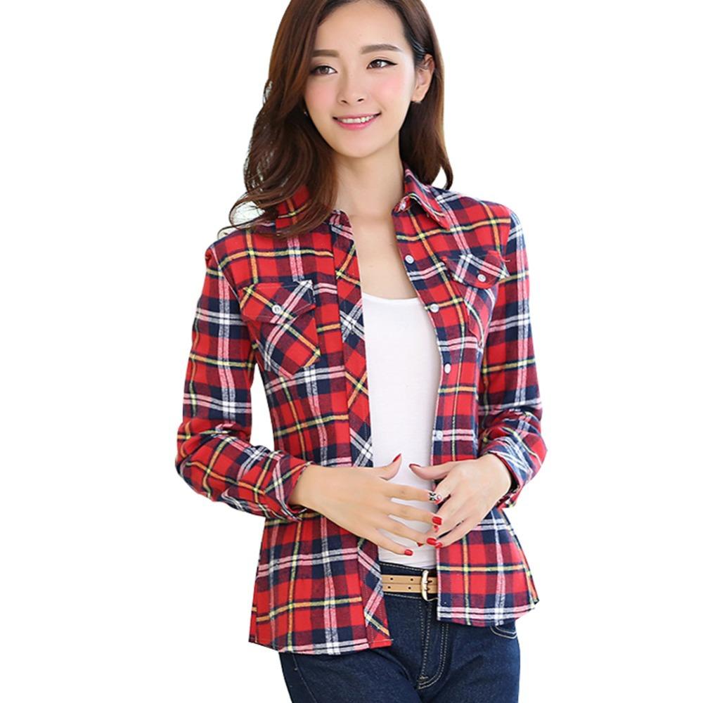 Classic Style Red Plaid Women Fashion Casual Shirts Size M 2xl Good Quality Lady Slim Cotton