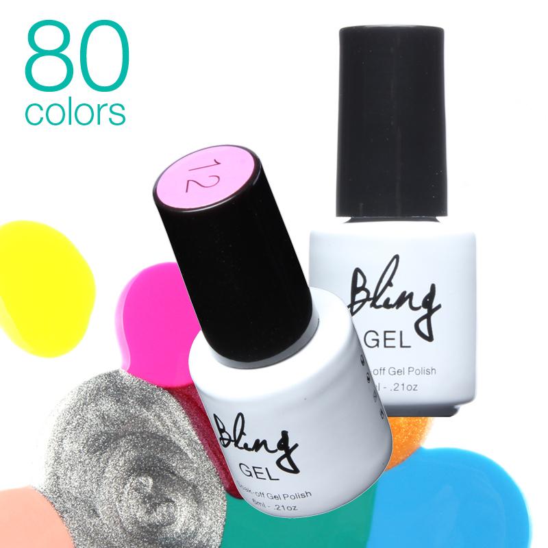UV Nail Gel Polish UV&LED Shining Colorful 80 Colors 6ml Long Lasting Soak off Varnish Cheap Manicure by Bling