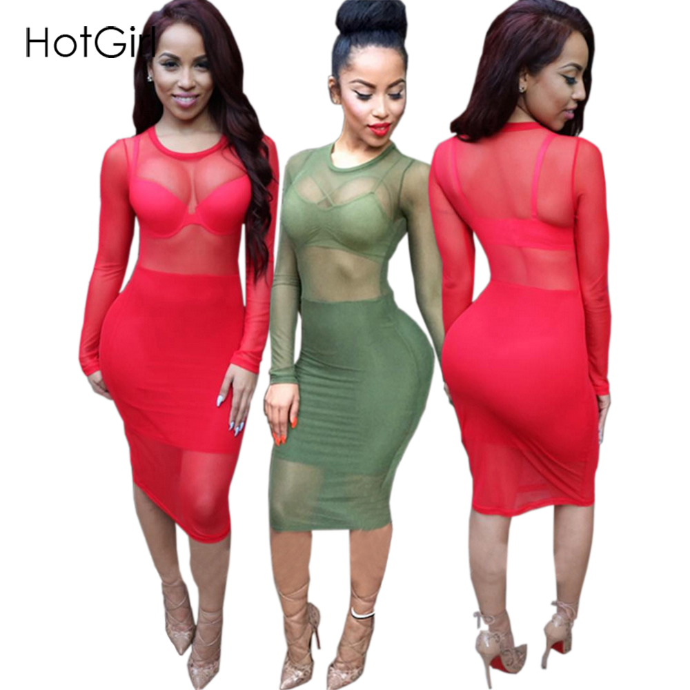 Summer 2016 Plus Size Women Clothing Solid Red Sexy Club Wear Mesh Sheer Party Dresses Knee Length Bodycon Bandage Lace Dress(China (Mainland))