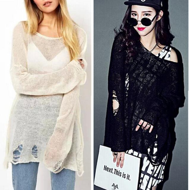 2015 женщин широкий отверстия свитер выдалбливают Asymetric хем широкий трикотажные ...