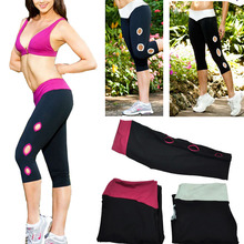 2014 New Women Lady Girl Sport Exercise Gym Leggings Capri YOGA Running Pants High Waist Cropped Fitness high elastic stretch