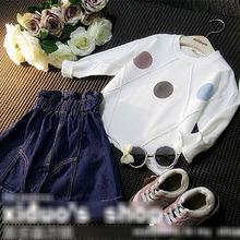5pcs/lot new arrival girls fashion dot irregular patchwork hoodies kids sweatshirt 3598(China (Mainland))