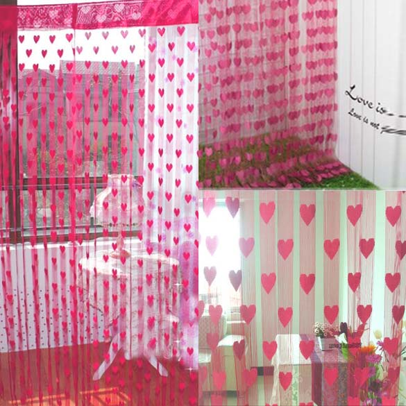 LS4G Romantic Heart Shape Line Curtain for Partition Wall Vestibule Curtain Modena Curtain for Living Room(China (Mainland))