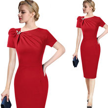 Vfemage Womens Herfst Elegant Geplooide Boog Asymmetrische Hals 3/4 Mouwen Slim Werk Office Business Cocktail Schede Jurk 18333(China)