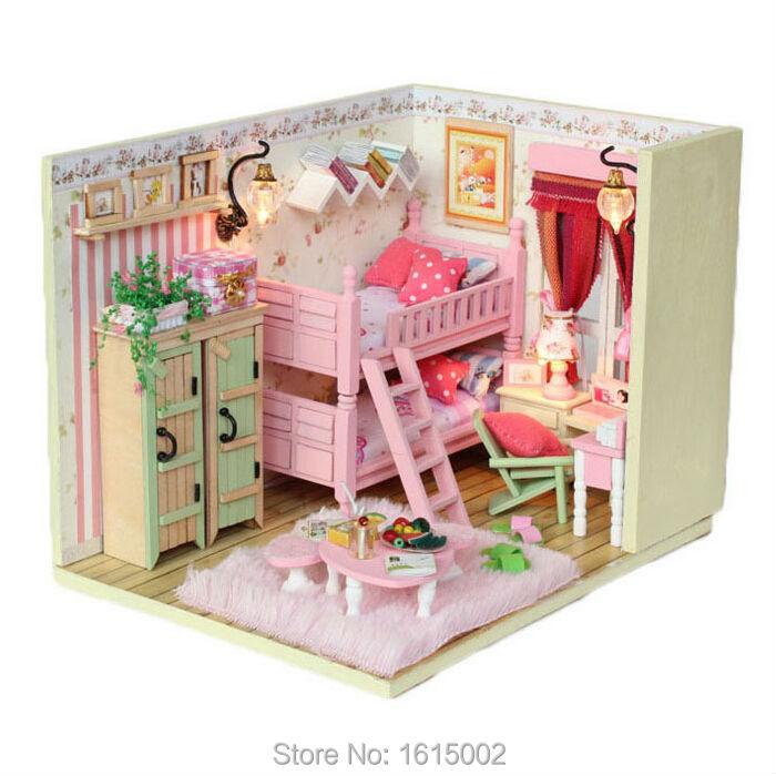 Kawaii Pink Miniature Wooden Dollhouse Furniture Kits Diy