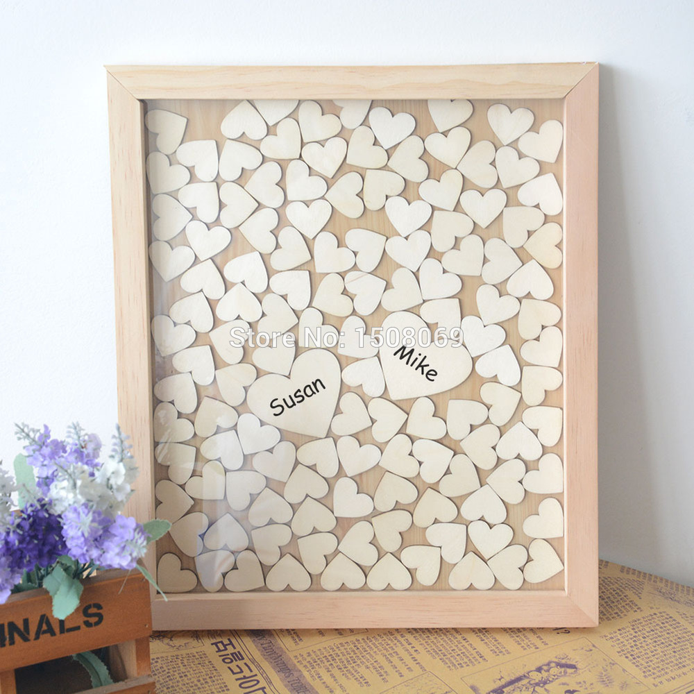 Personalized letters drop box heart wood guest book custom for Decoration pour album photo