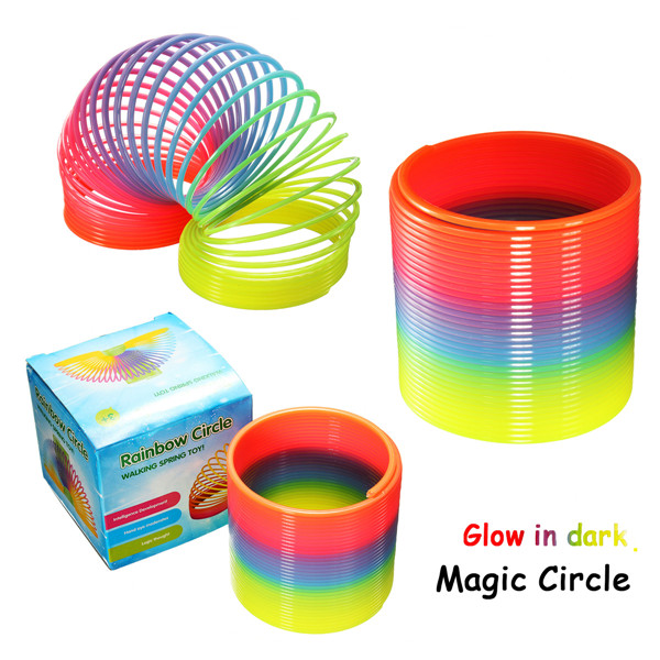 Funny Rainbow Circle Plastic Coil Spring Slinky Kids Baby Educational Toy Gift(China (Mainland))