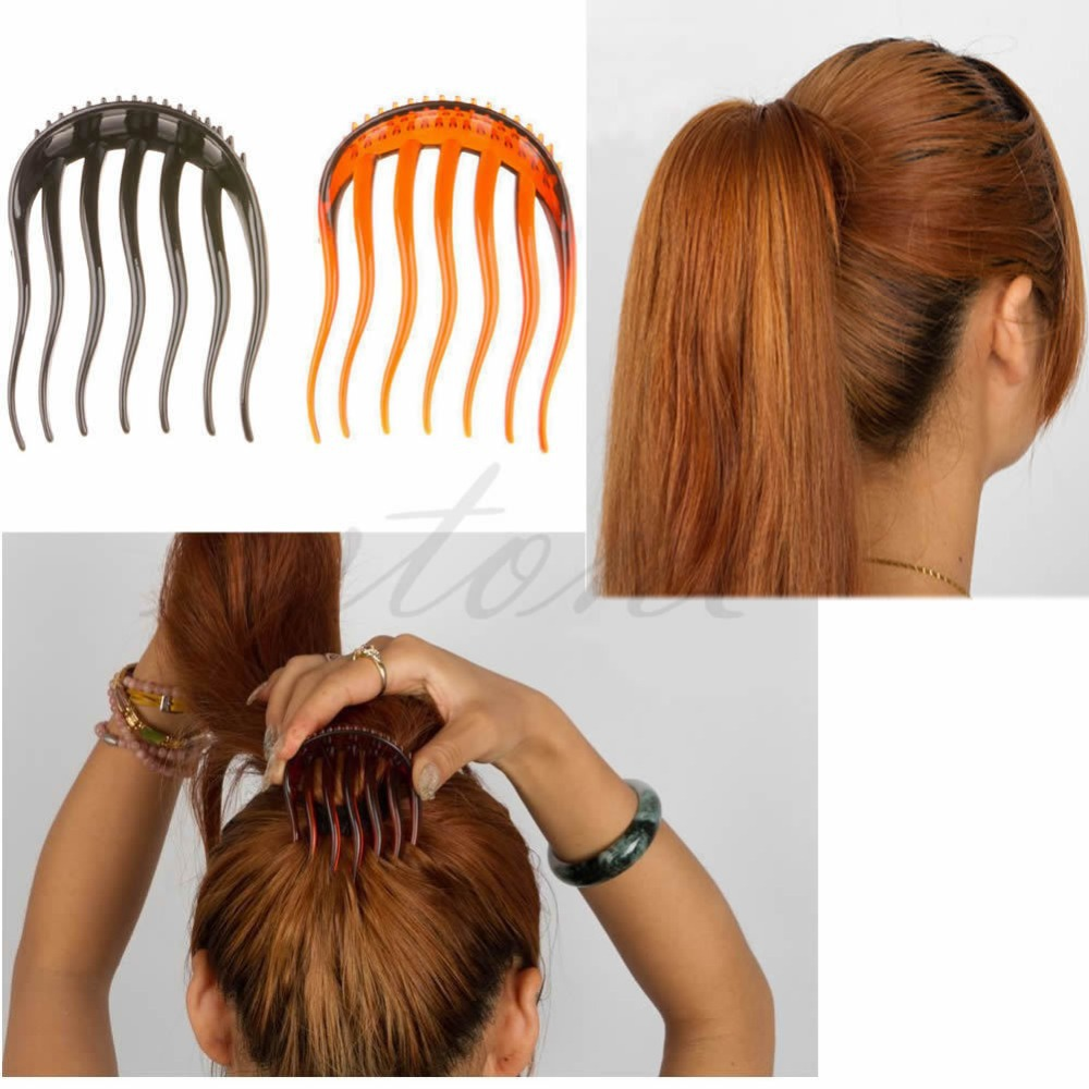 Free shipping Useful Volume Inserts Hair Clip Bouffant Bumpits Ponytail Hair Comb Bun Maker NW(China (Mainland))