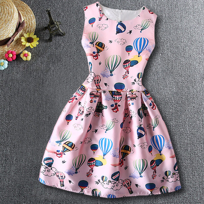 2016 fashion young girls sleeve vest 8-15Years princess students evening party dress Sleeveless dresses(China (Mainland))