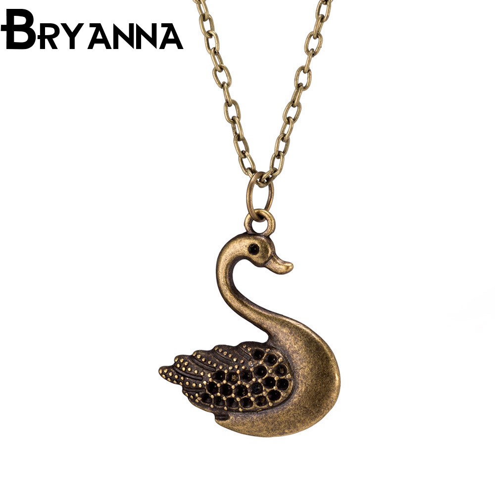 BRYANNA Maxi Statement Necklace Punk Vintage Leather Jewelry Men Women Swan Pendant Necklaces Best Lovers' Gift BKN90093(China (Mainland))
