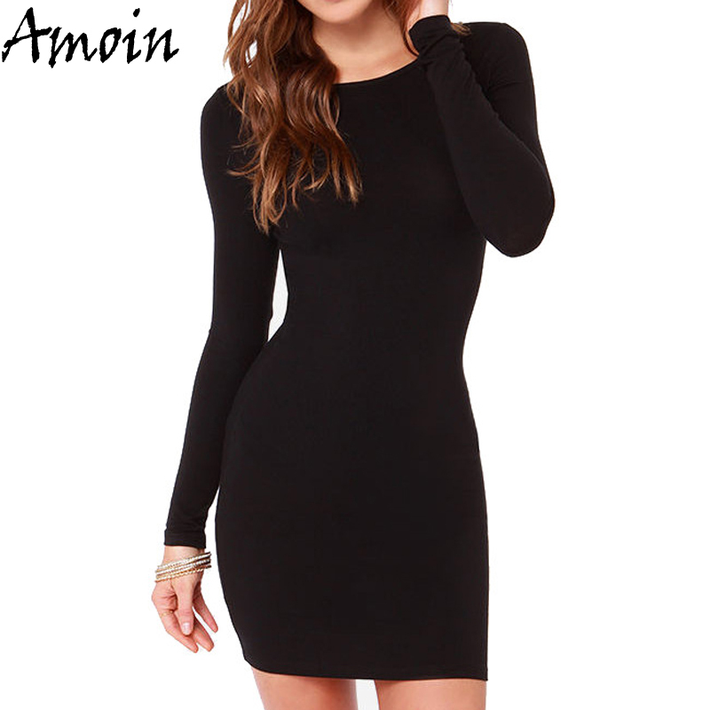 Amoin Cute Women Fashion Little Black Dress New 2017 Autumn Winter Sexy Casual Vestidos Long Sleeve Bodycon Short Office Dress(China (Mainland))