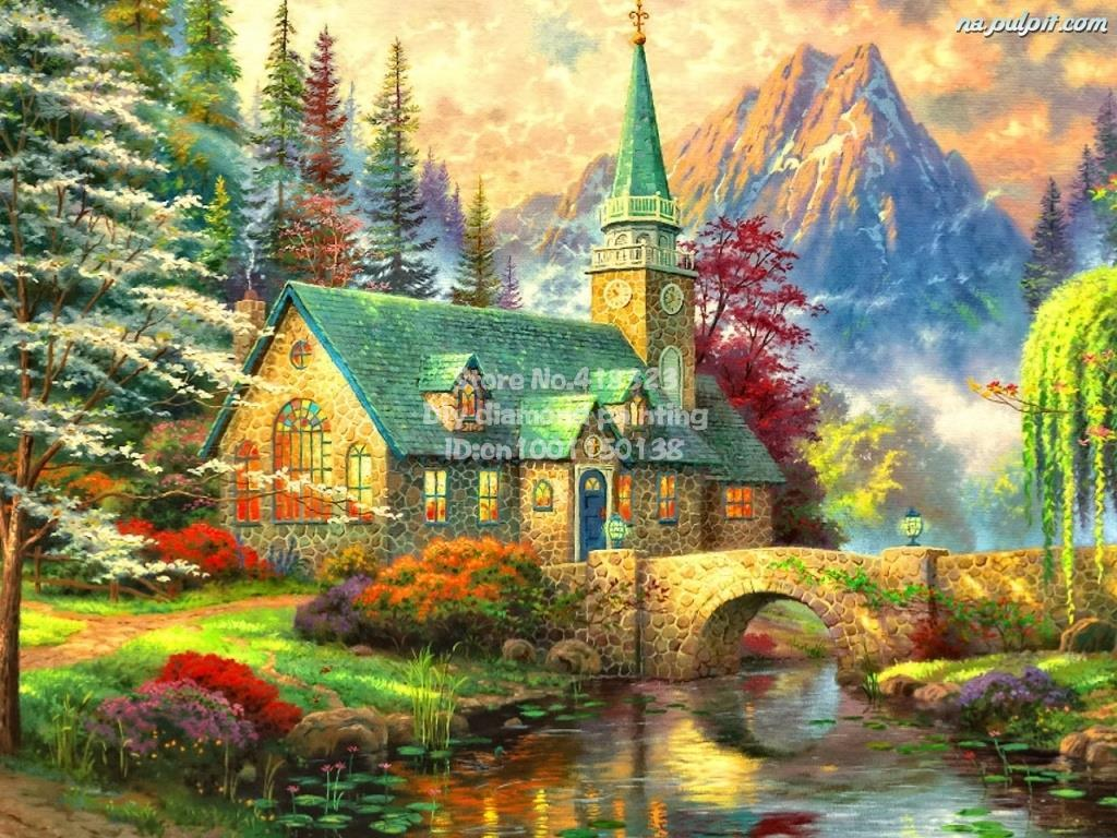 church view diy diamond painting resin round drill and full embroidery diamond Inlaid handiwork home decoration picture Dp0414(China (Mainland))