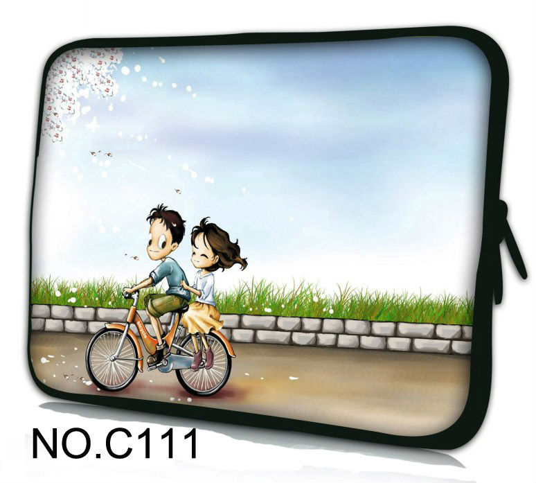 "Bicycle skull 12"" Neoprene Laptop Sleeve Bag Soft Case Cover For Apple iBOOK,Macbook Air(China (Mainland))"