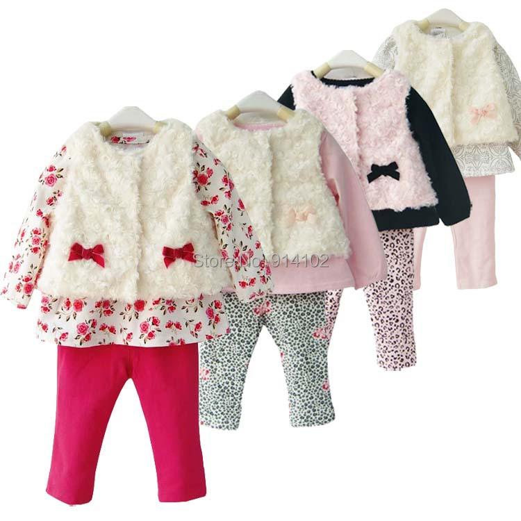 Newborn Baby Girl Clothes 3 Piece Faux Fur Vest Shirt