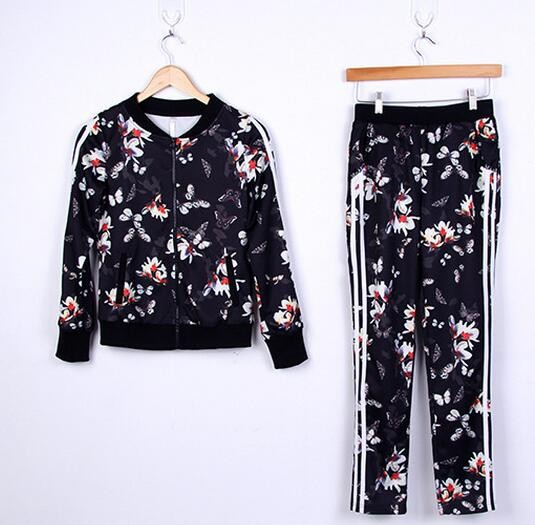 Survetement 2016 New Print Hoodies Women Casual Sweatshirt Fashion O-neck Tracksuit Women Women's Costume Two Piece Set