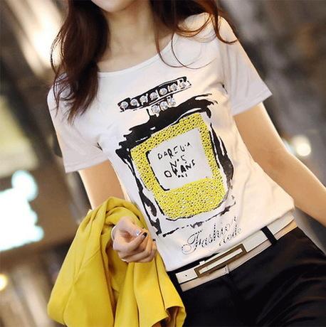 New 2014 free shipping summer woman printed cotton T-shirt base lady short sleeves casual shirt Perfume bottles t-shirt S~XXL(China (Mainland))