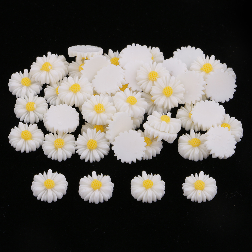 50 Pieces Resin Daisy Flower Flatback Cabochon For DIY Scrapbooking Embellishments Card Making Hair Bow Center Craft