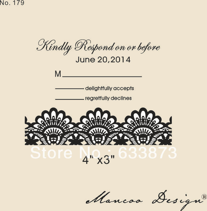 Custom rubber stamp 4quotx3quot wedding invitation lace stamp for Wedding rsvp cards stamps