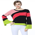 Knitbest Irregular Stripes Sweaters Loose Winter National Style Knitted Tops ColorfuL Pullovers Long Sleeve Warm Thick