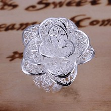 2016 New Arrival Fashion Ring Silver Plated Ring Silver Color Jewelry ring factory price Flower RING for Women gift Thanksgiving(China (Mainland))